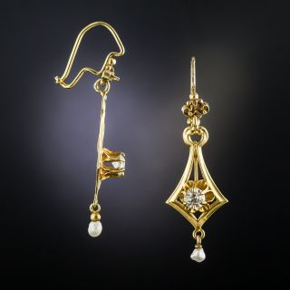 Vintage Diamond and Pearl Drop Earrings