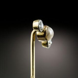 Vintage Diamond and Pearl Stick Pin
