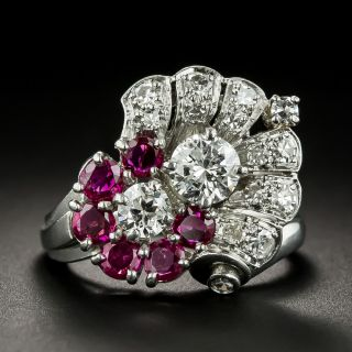 Vintage Diamond and Ruby Ring by Peacock - 1