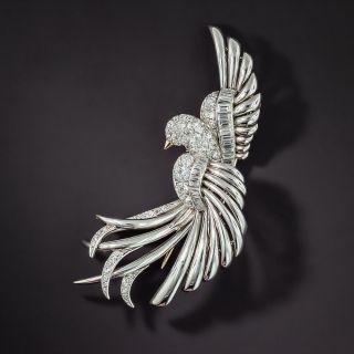 Diamond Platinum Bird Brooch - 1