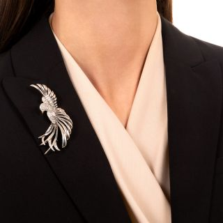 Vintage Diamond Bird Brooch