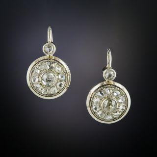 Vintage Diamond Cluster Drop Earrings - 2