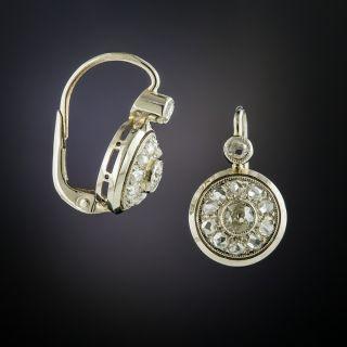 Vintage Diamond Cluster Drop Earrings