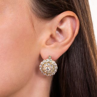 Vintage Diamond Cluster Earrings, Circa 1900