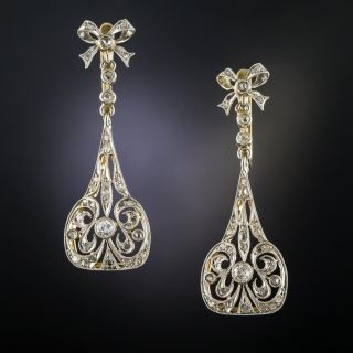 Vintage Diamond Drop Earrings - 2
