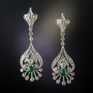 Vintage Diamond Emerald Platinum Drop Earrings - 2