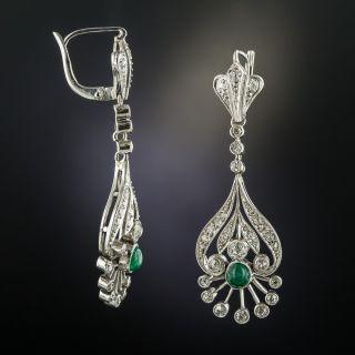 Vintage Diamond Emerald Platinum Drop Earrings
