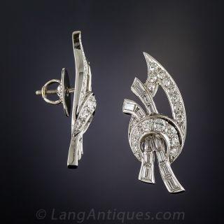Vintage Diamond Leaf Earrings