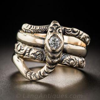 Vintage Diamond Snake Ring
