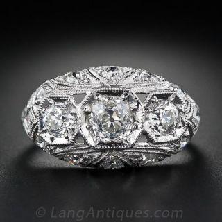 Vintage Diamond Three-Stone Engagement Ring