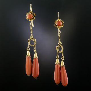 Vintage Double Coral Dangle Earrings - 4