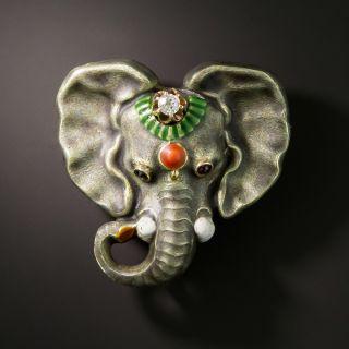 Vintage Elephant Brooch with Diamond - 2