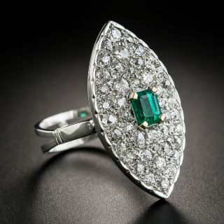 Vintage Emerald and Diamond Dinner Ring