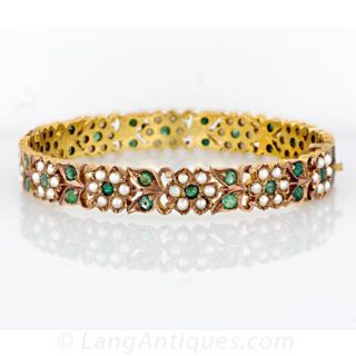 Vintage Emerald and Seed Pearl Bangle Main View