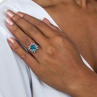 Vintage Emerald-Cut Blue Zircon and Diamond Ring
