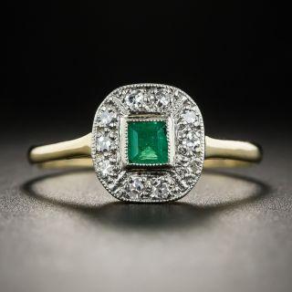 Small Vintage Emerald Diamond Ring - 1