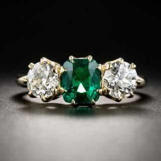 Vintage Emerald Diamond Three-Stone Ring - 1