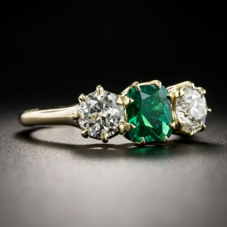 Vintage Emerald Diamond Three-Stone Ring