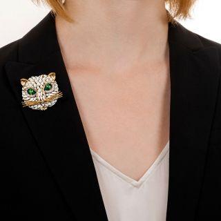 Vintage Enamel and Diamond Cat Brooch
