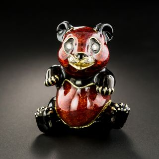 Vintage Enamel and Diamond Panda Pill Box by Pierino Frascarolo - 1