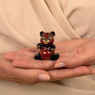 Vintage Enamel and Diamond Panda Pill Box by Pierino Frascarolo