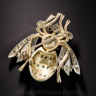 Vintage Enamel Bee Brooch with 1.20 ct. Old Mine-Cut Diamond