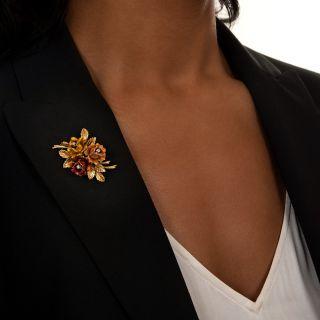 Vintage Enamel Flower and Diamond Brooch