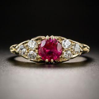 Vintage English Ruby and Diamond Ring 18K - 1