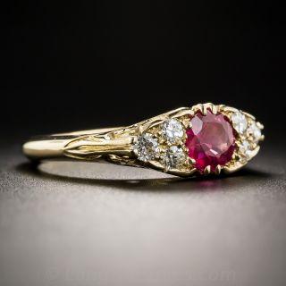 Vintage English No Heat Ruby and Diamond Ring 18K