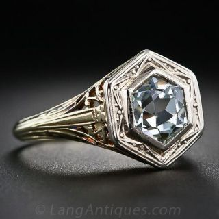 Vintage Filigree Aquamarine Ring