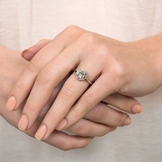 Vintage French 1.26 Carat Diamond Solitaire Engagement Ring - GIA K I1