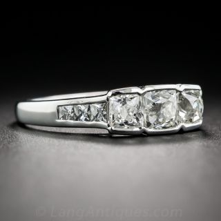 Vintage French-Cut Diamond Three Stone Ring in Platinum