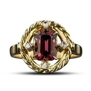 Vintage Garnet and Diamond Ring - 2