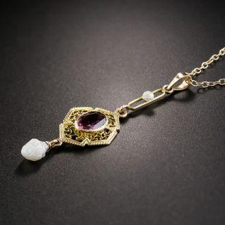 Vintage Garnet and Seed Pearl Drop