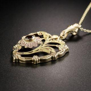Vintage Garnet Heart and Flower Pendant