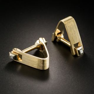 Vintage Gold and Diamond Cuff Links - 2
