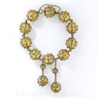 Vintage Gold and Turquoise Bead Bracelet - 2