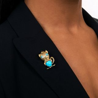 Vintage Goofy Turquoise Cat Brooch