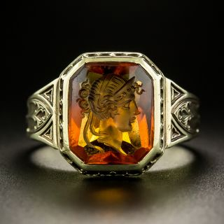 Vintage Gothic Citrine Intaglio Ring by Larter - 3