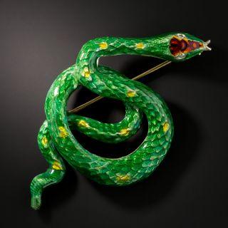 Vintage Green and Red Enamel Snake Brooch - 2