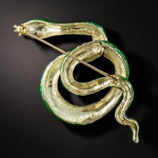 Mid-Century Green and Red Enamel Snake Brooch