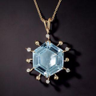 Hexagonal Blue Topaz and Diamond Pendant - 0