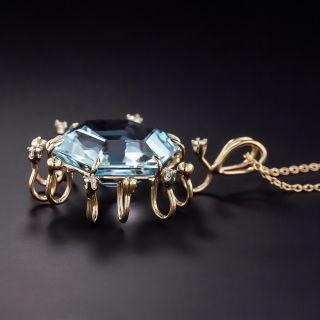 Vintage Hexagonal Blue Topaz and Diamond Pendant