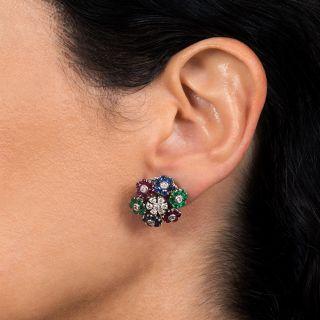Vintage Italian Multi-Gem and Diamond Flower Earrings