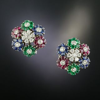 Vintage Italian Multi-Gem and Diamond Flower Earrings - 2