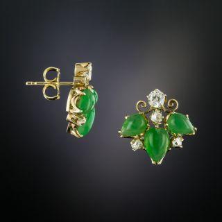 Vintage Jade and Diamond Earrrings - 2