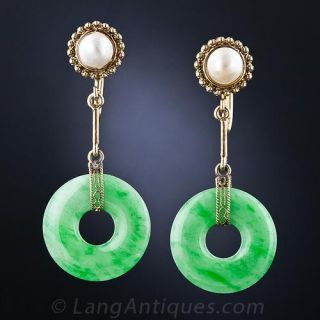 Vintage Jade & Pearl Earrings