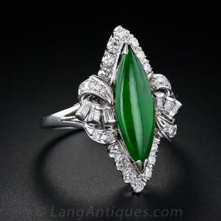 Vintage Jadeite and Diamond Ring