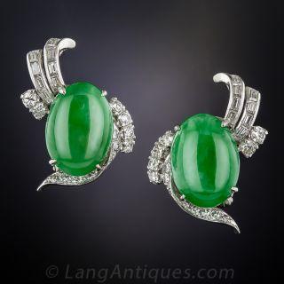 Vintage Natural Jadeite Clip Earrings - 2