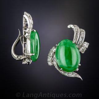 Vintage Natural Jadeite Clip Earrings